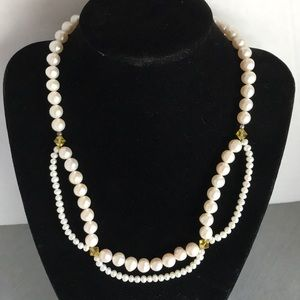 """Jewelry - Pearl swag necklace with Swarovski crystals ~17"""""""